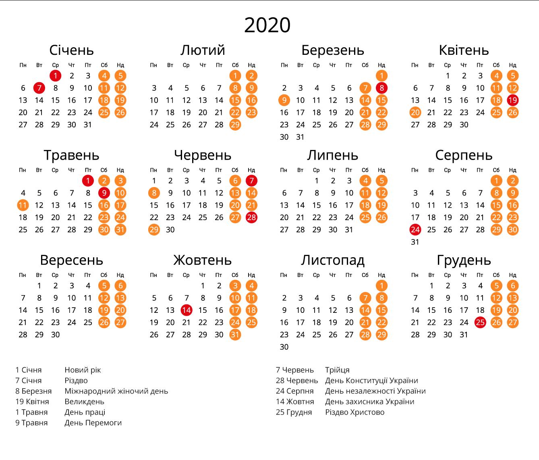 Вихідні Дні 2020 В Україні  Детальний Календар Свят  Наш in Calendar Kuda 2020
