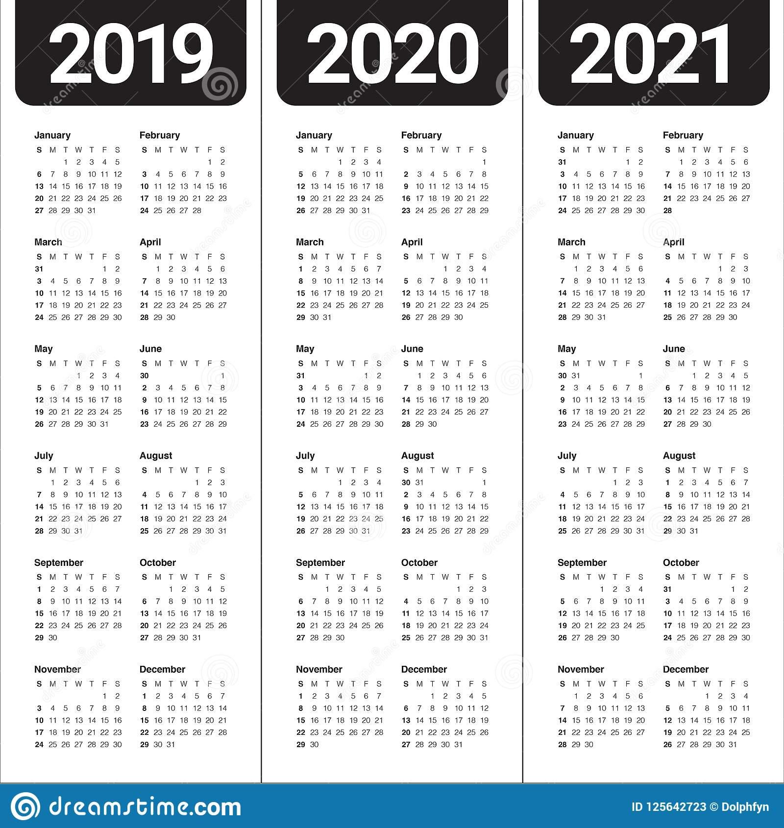 Год 2019 2020 Шаблон Дизайна Вектора 2021 Календаря for 3 Year Calendar 2020 To 2021 Printable