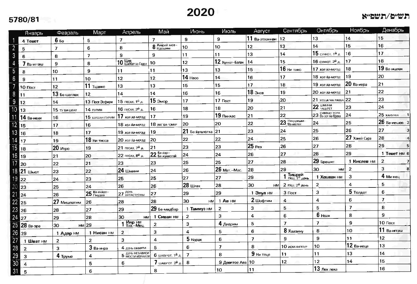 Еврейский Календарь 2020 (57805781)  Evrofilm  Еврейский regarding Calendar 2020 Kuda