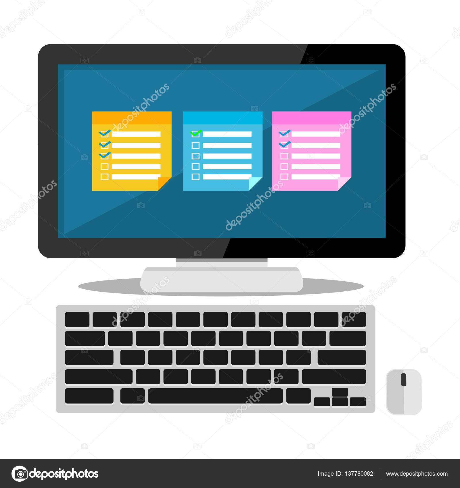 Записки На Рабочем Столе. Приложение Напоминания — Векторное intended for Desktop Reminder Gadget