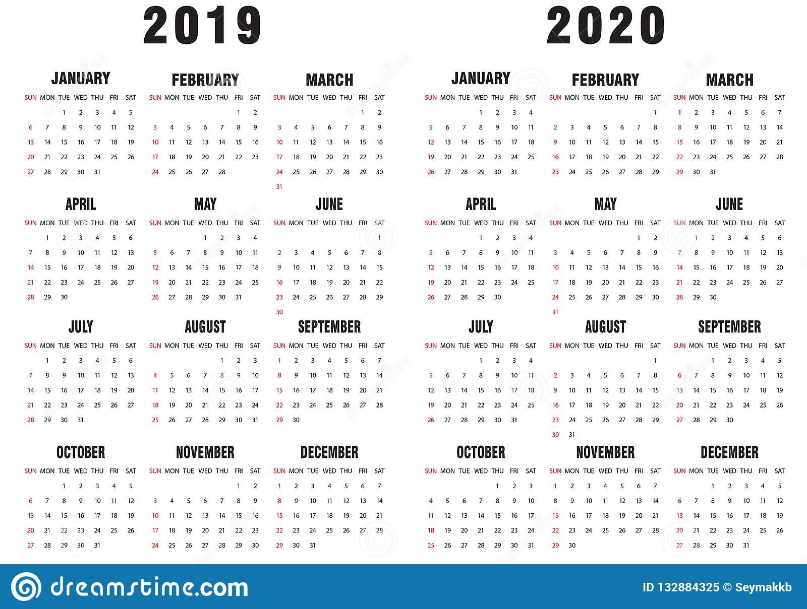 Календарь 20192020 Чернобелый Иллюстрация Вектора with regard to Kalendar Kuda September 2020