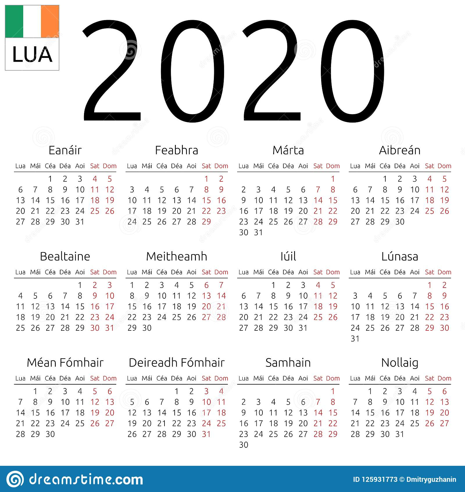 Календарь 2020, Ирландский, Понедельник Иллюстрация Вектора pertaining to Calendar Kuda 2020