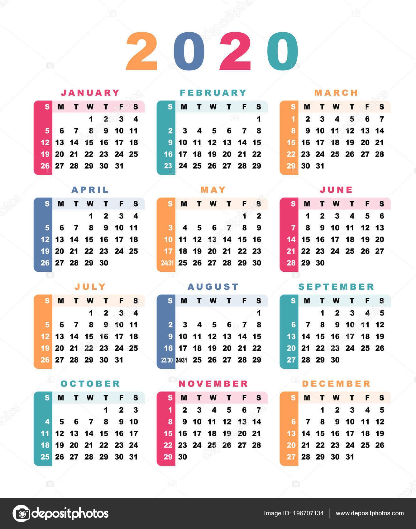 Календарь 2020 Неделя Начинается Воскресенья Векторные for Calendario 2020 Con Semanas