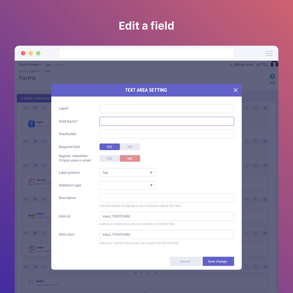 Модуль Form Builder  Contact Form, Product, Cms, Quote Form for Calendar Icon Inside Textbox Bootstrap