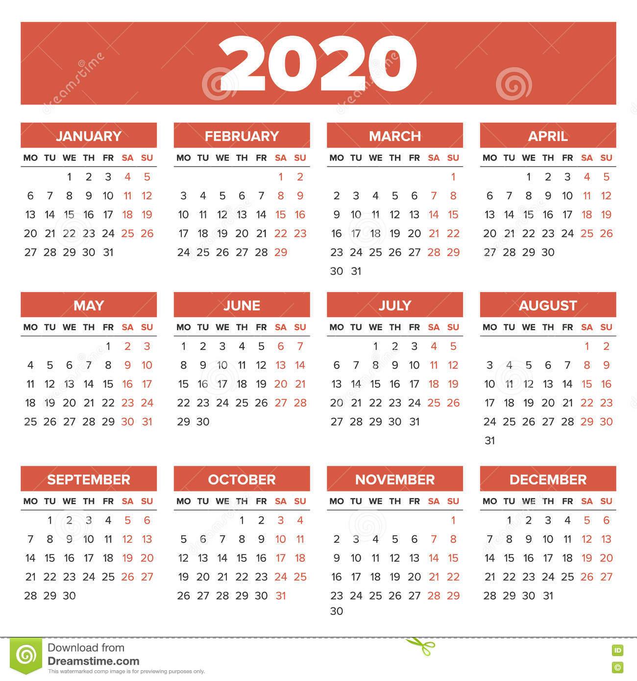 Простой Календарь 2020 Год Иллюстрация Вектора. Иллюстрации in Calendar Kuda 2020