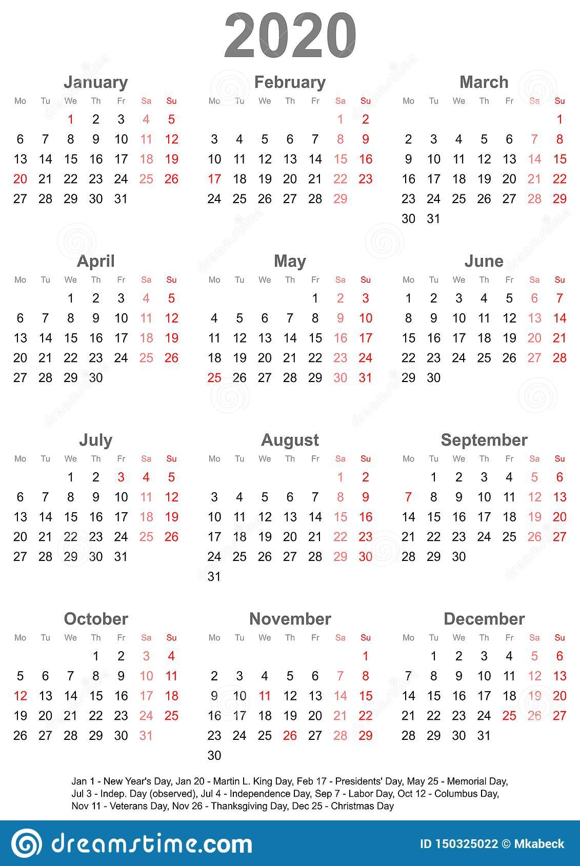 Простой Календарь 2020 С Праздничными Днями Для Сша regarding Sep Calendario 2020