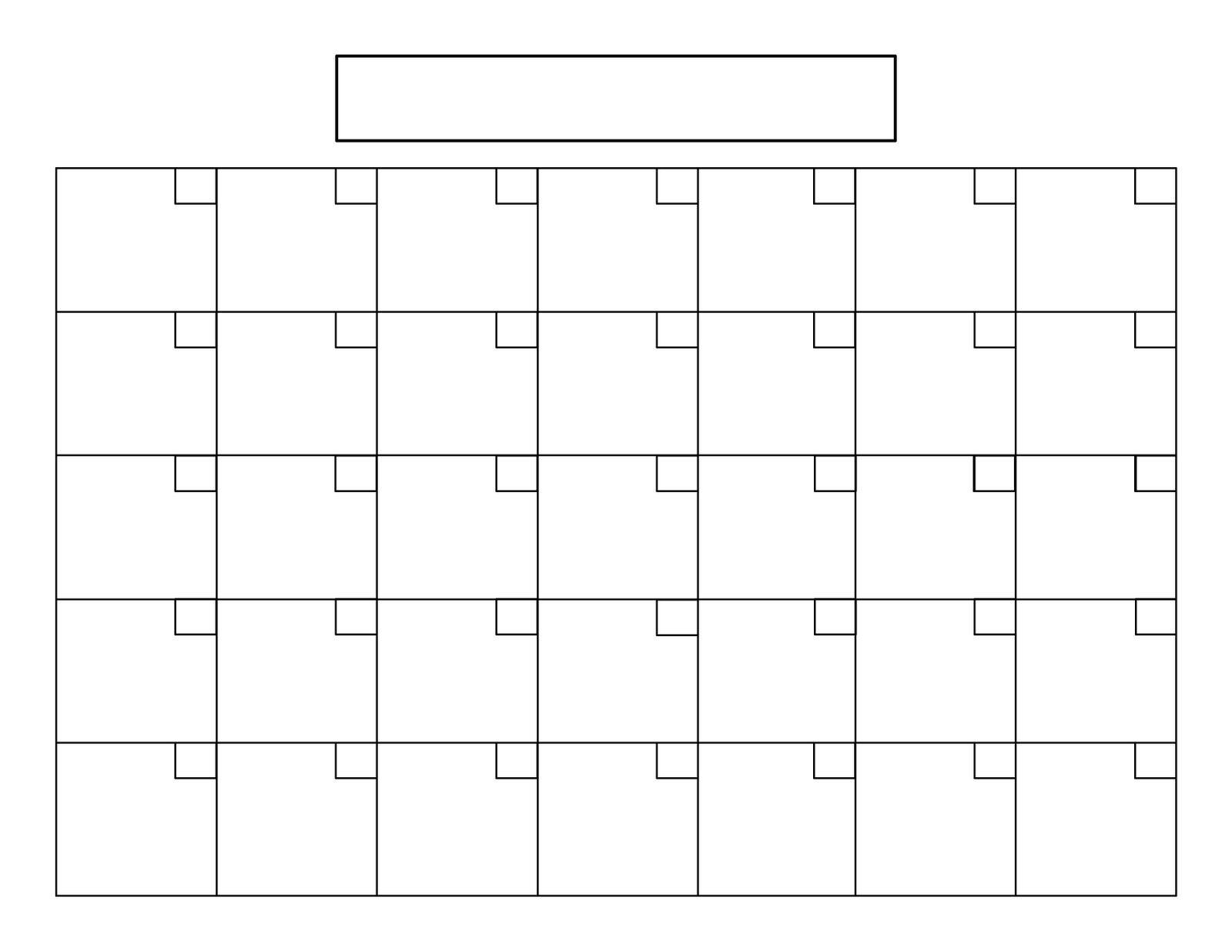 Пустой Календарь Больших Квадратов  Календарь | Пустой inside Blank 31 Day Calendar