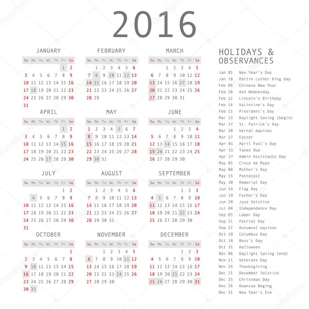 Сетка Календаря В Вектор На 2016 Год. Строгий Дизайн with regard to January 16 Holidays & Observances