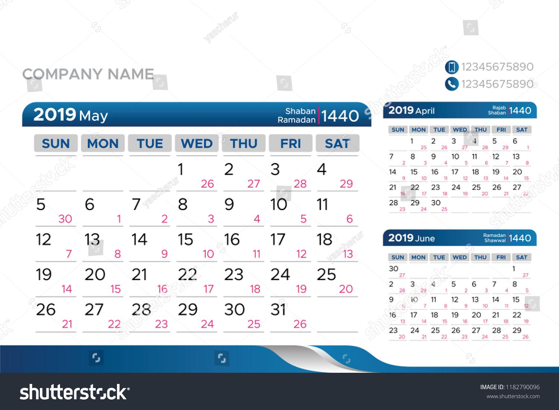 Стоковая Векторная Графика «Calendar 2019 Year Hijri 1440 regarding 1440 Hijri Calendar