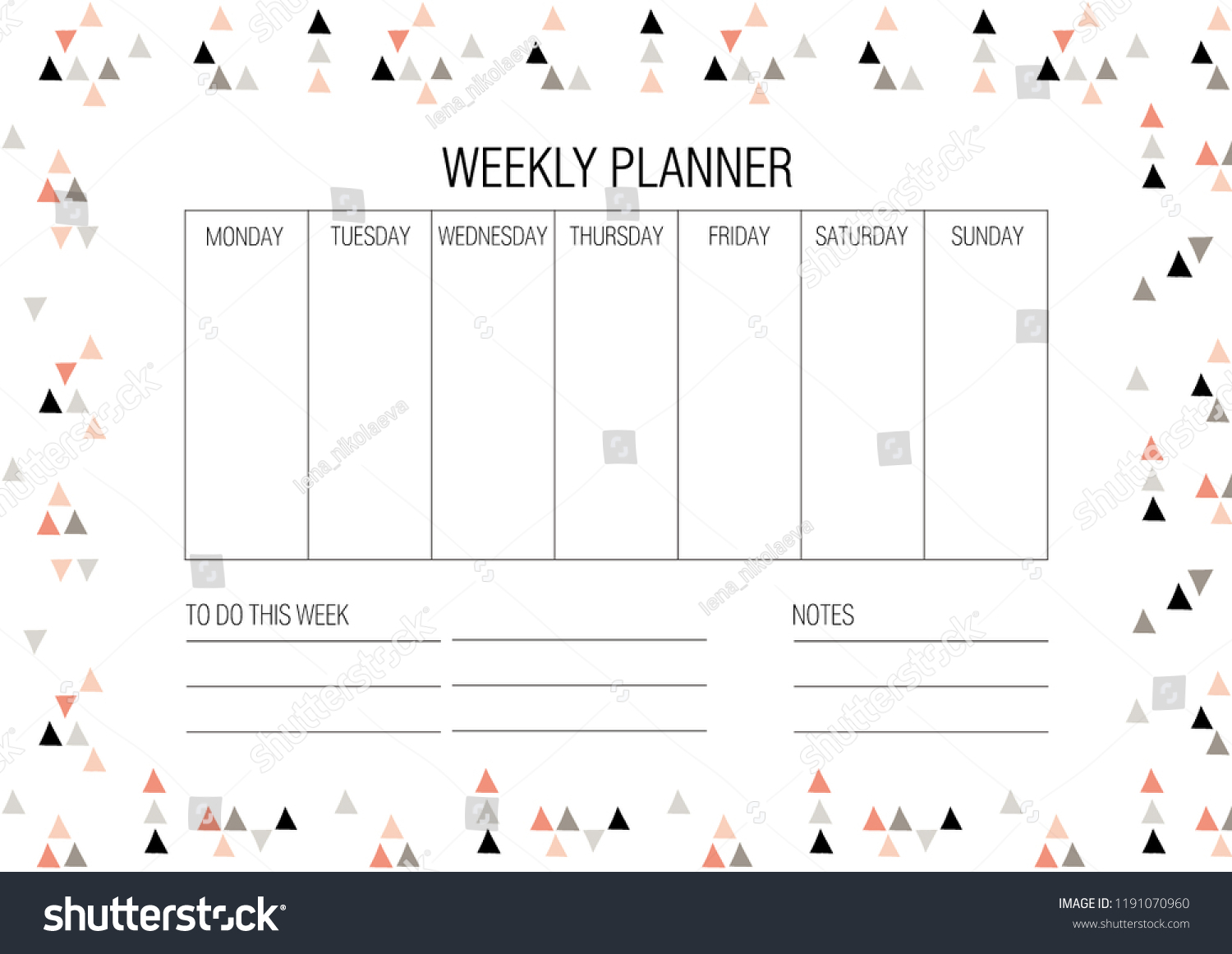 Стоковая Векторная Графика «Weekly Planner Template Vector with Monday To Friday Planner Template