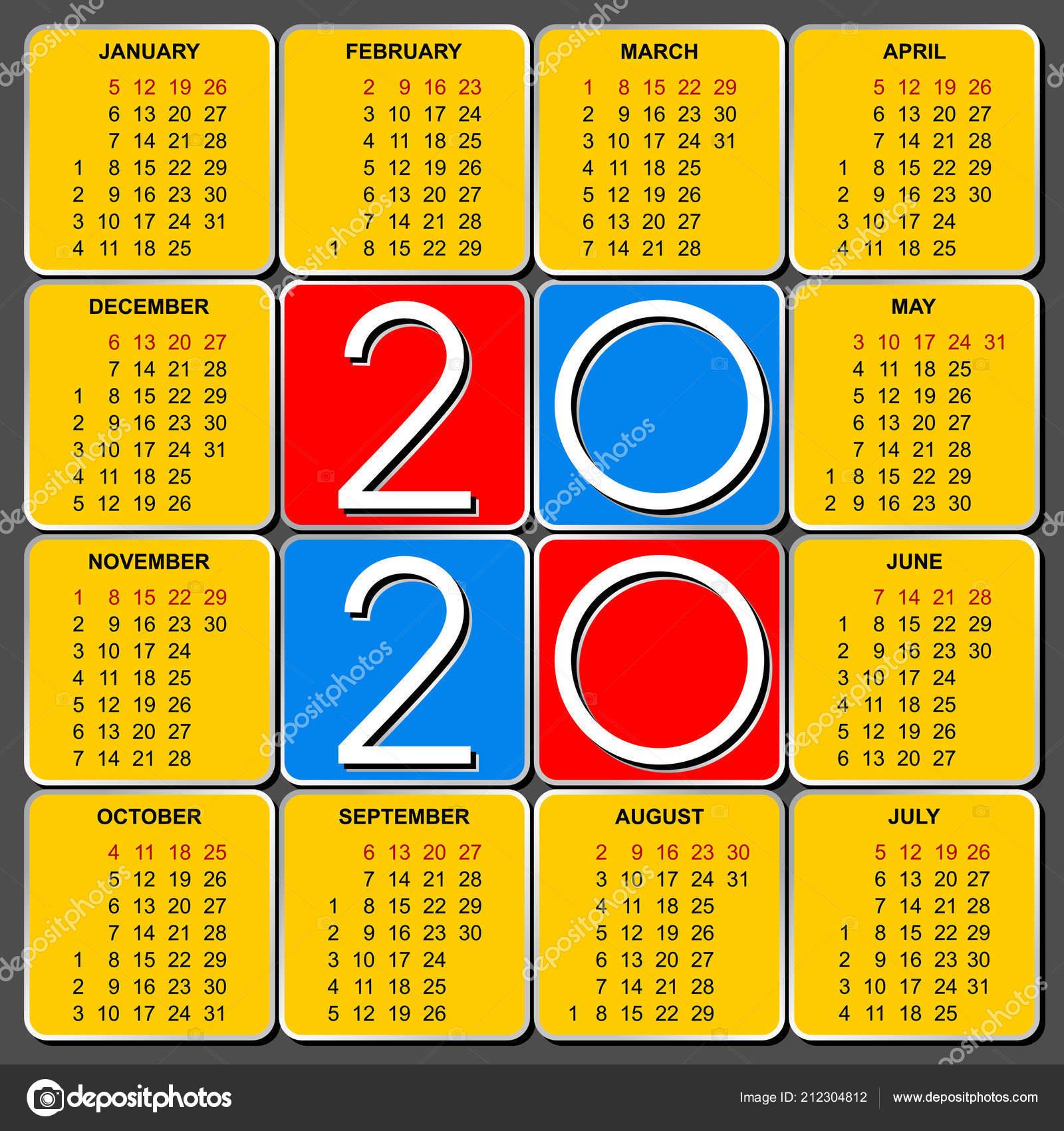 Шаблон Американский Календарную Сетку 2020 Векторе for Wincalendar July 2020