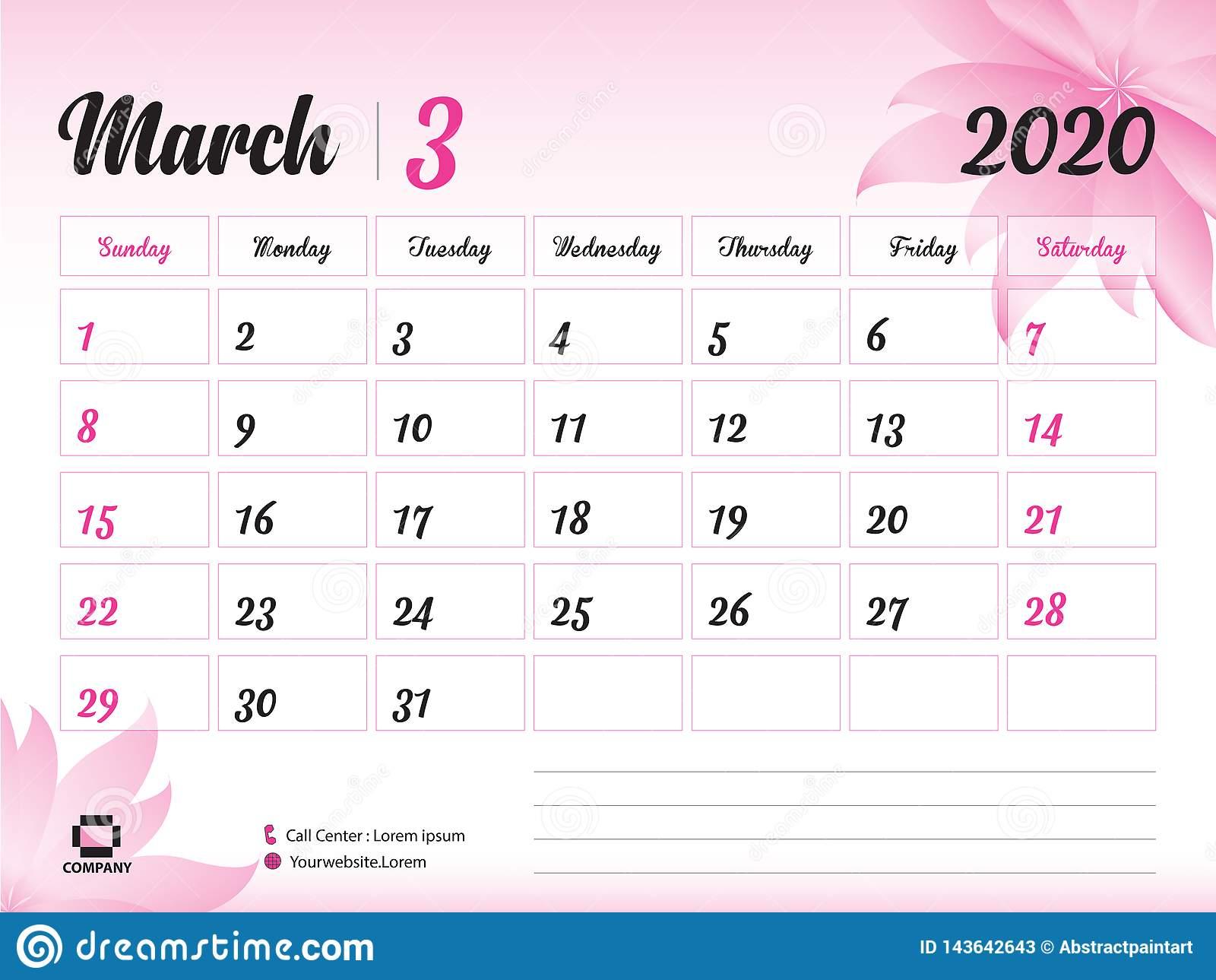 Шаблон Года Марта 2020, Вектор 2020, Дизайн Настольного pertaining to Kalendar Kuda March 2020