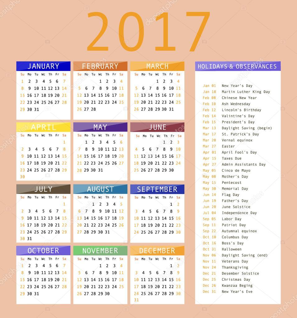 Шаблон Календаря Для 2017. — Векторное Изображение throughout January 16 Holidays & Observances