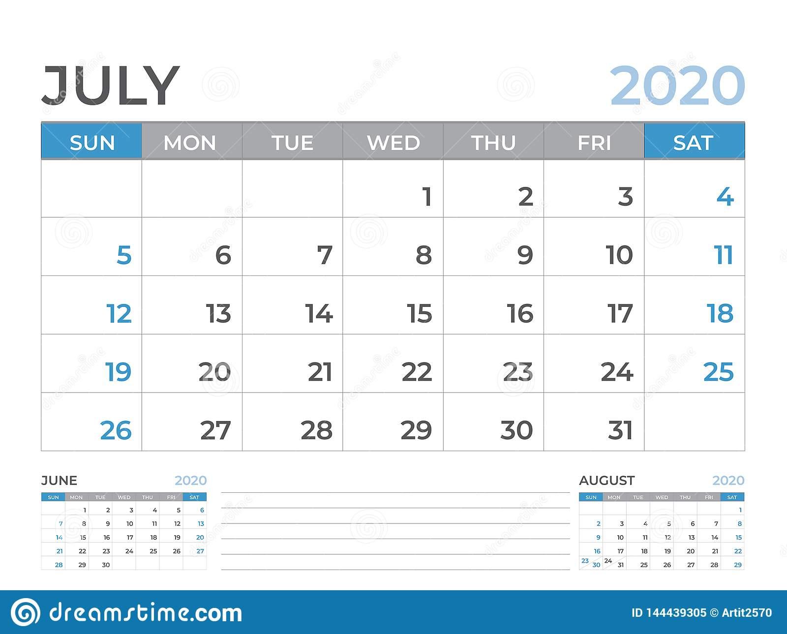 Шаблон Календаря Июня 2020, Размер Плана Настольного in Kalendar Kuda July 2020