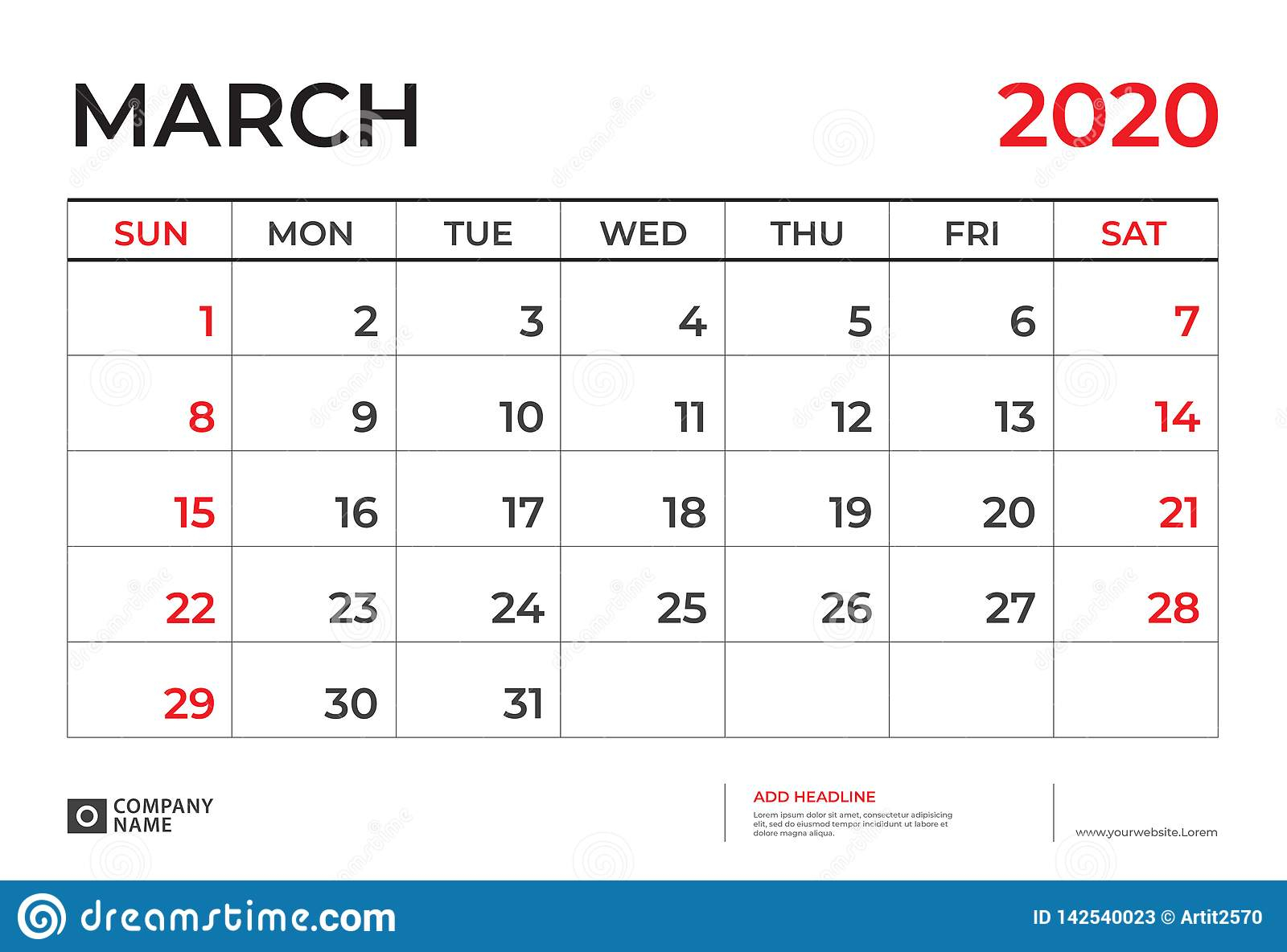 Шаблон Календаря Марта 2020, Размер 9 Плана Настольного intended for Kalendar Kuda March 2020