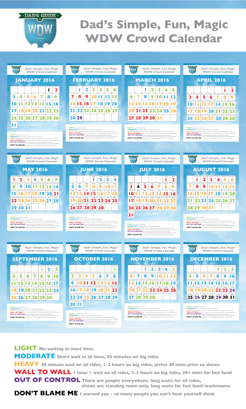Dad's 2016 Walt Disney World Crowd Calendars with regard to Dads Crowd Calendar 2020