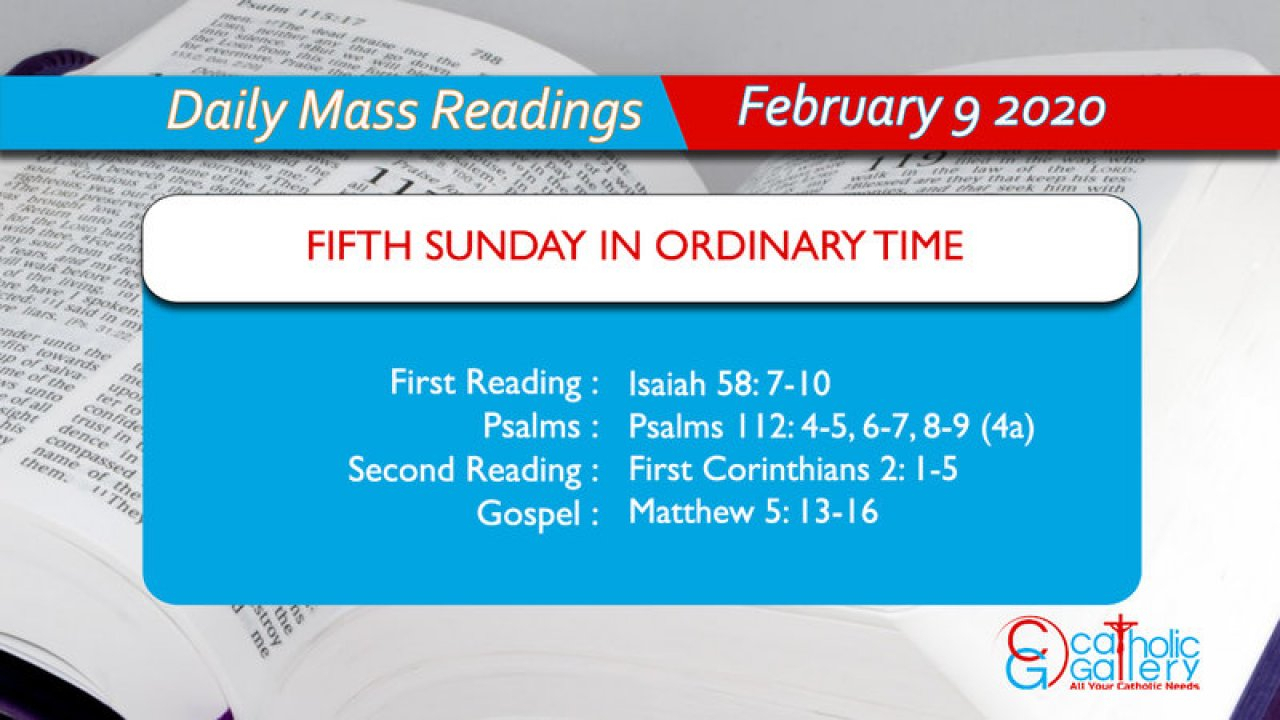 Daily Mass Readings  9 February 2020  Sunday  Catholic regarding Catholic Liturgical Calendar 2020 With Daily Readings