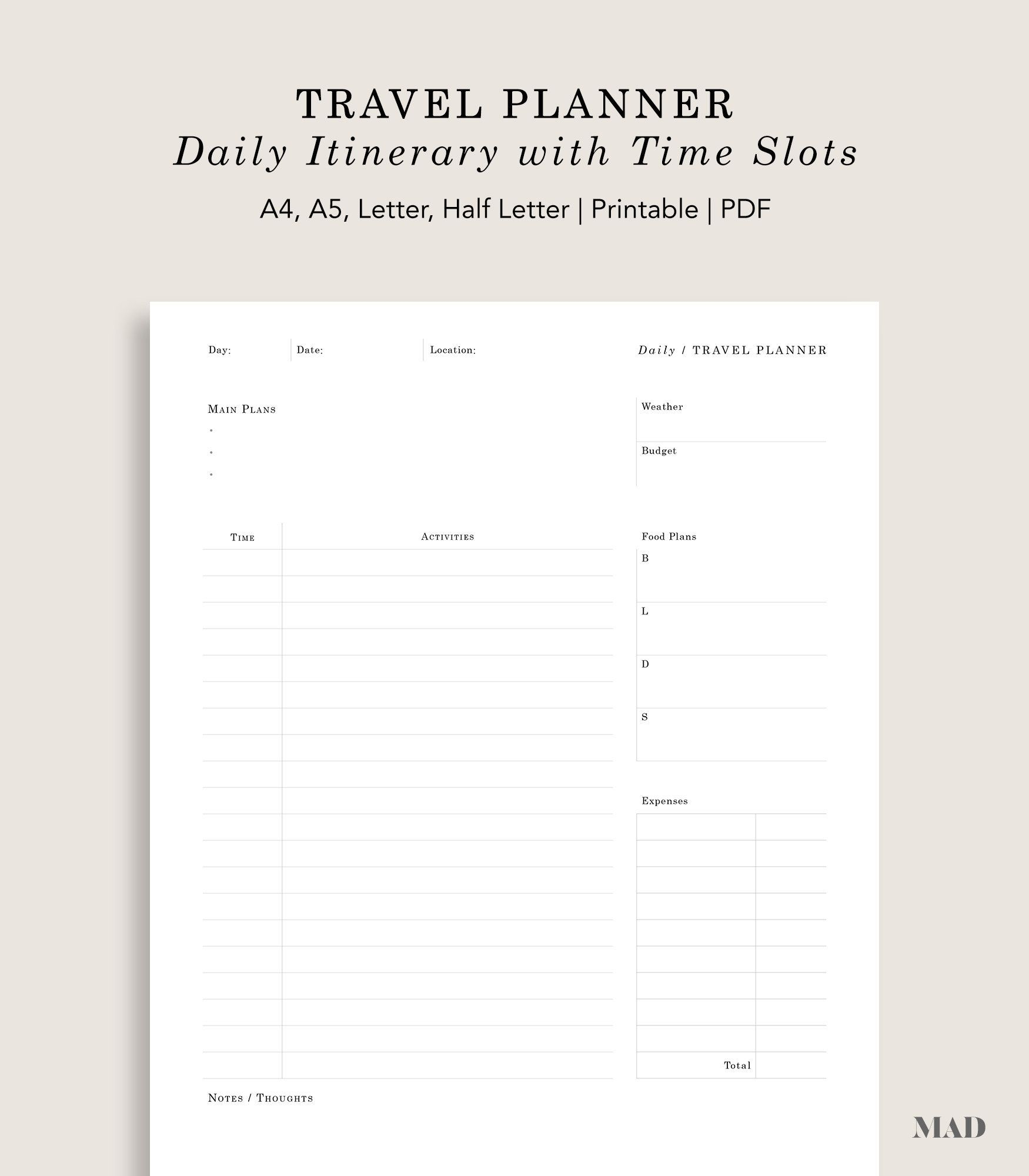 Daily Travel Planner With Time Slots | To Do List | Instant with Daily Planner With Time Slots