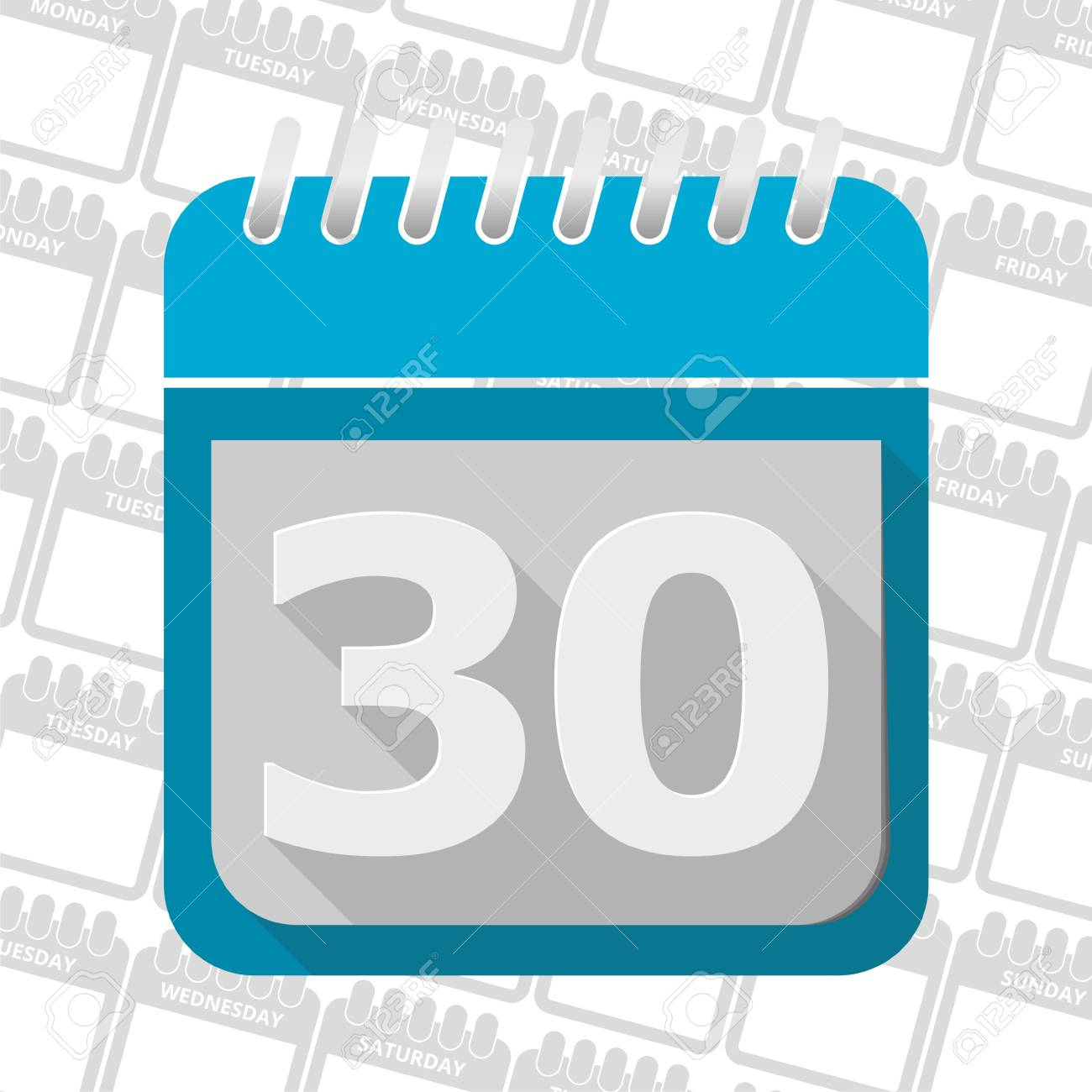 Date Button, Calendar Sign Icon. 30 Day Month Symbol. with 30 Day Calander