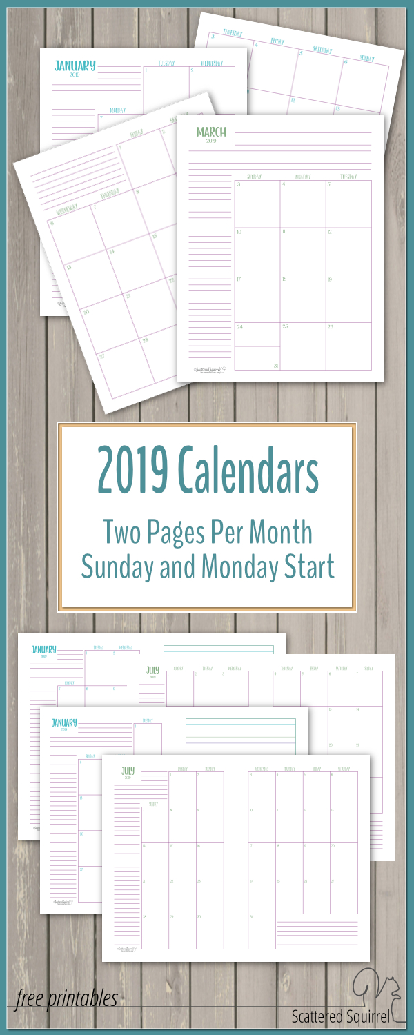 Dated 2019 Calendars Two Pages Per Month  Scattered Squirrel for Scattered Squirrel Calendar