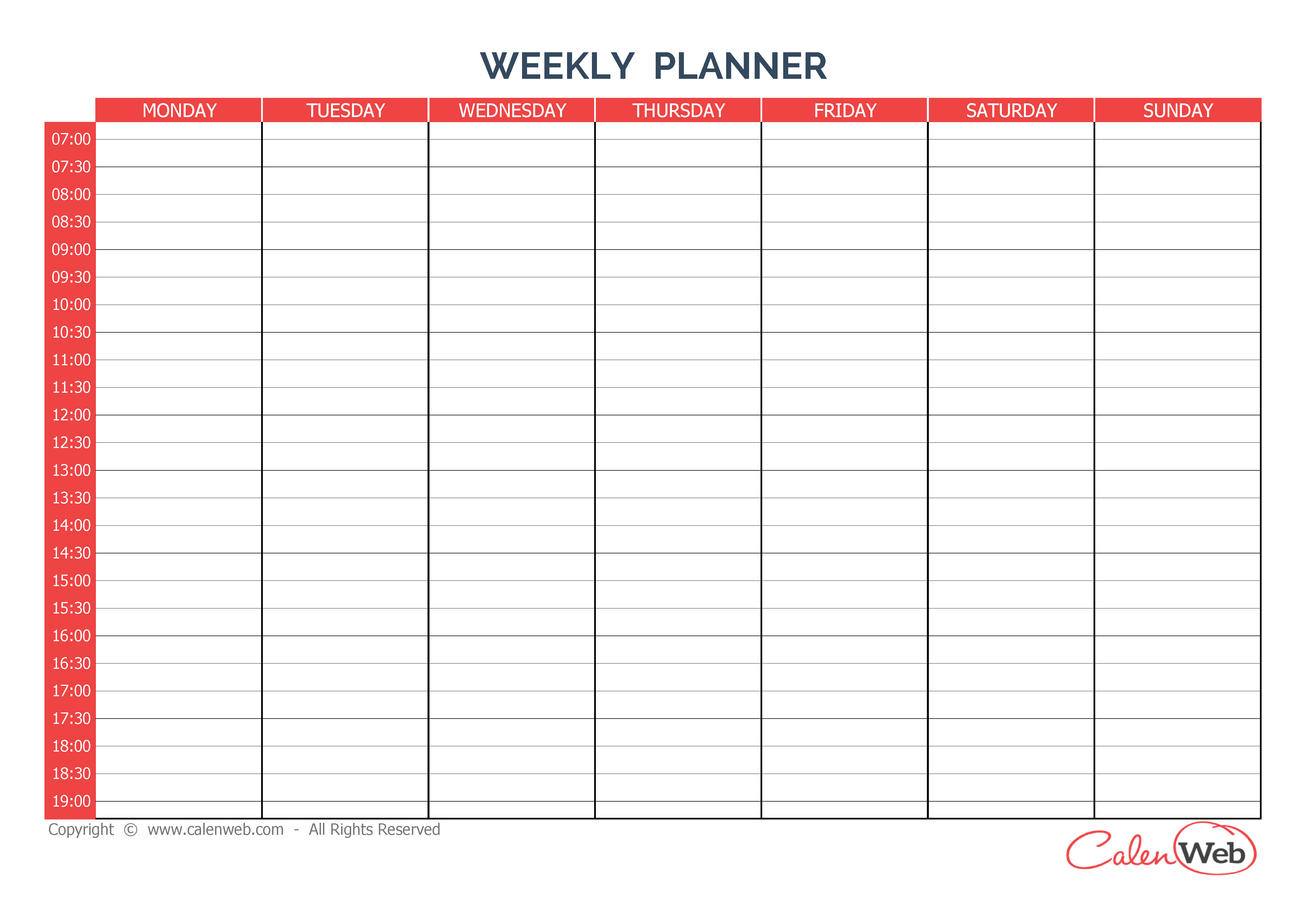 Day 7 Weekly Planner Template | Day Weekly Planner Printable in Wincalendar April 2020