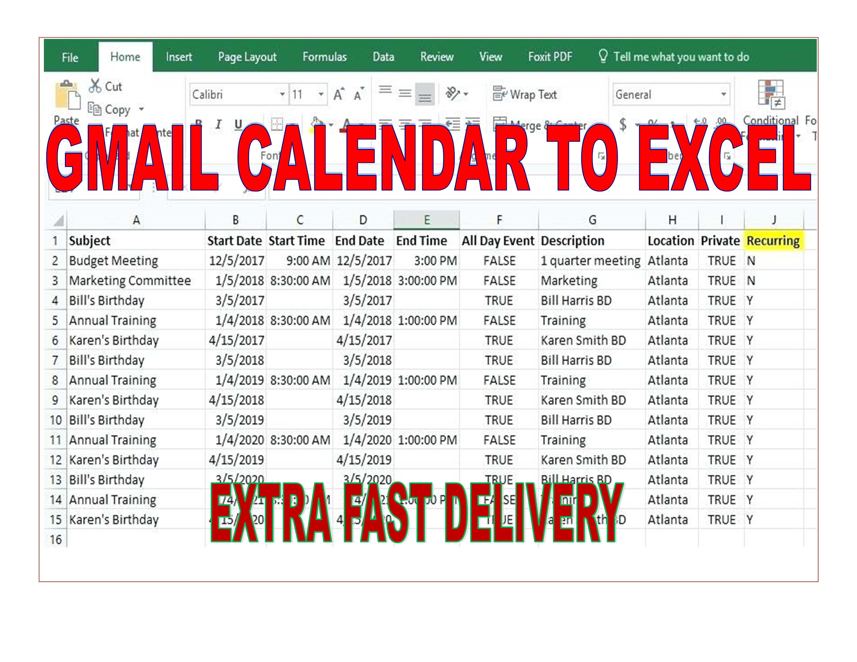 Dayadaiyan : I Will Export Google Gmail Events Calendar To Excel,  Spreadsheet For $10 On Www.fiverr in Google Calendar To Excel