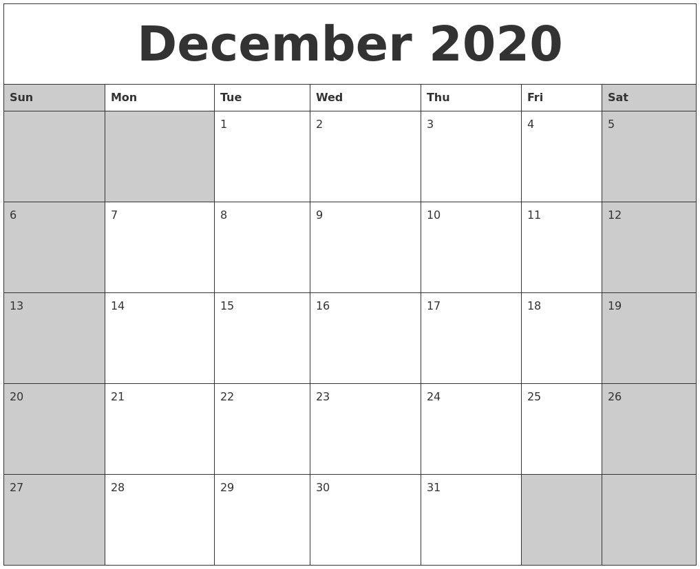 Dec 2020 Calendar Printable – Pleasant To Help Our Weblog intended for Nov Dec 2020 Calendar
