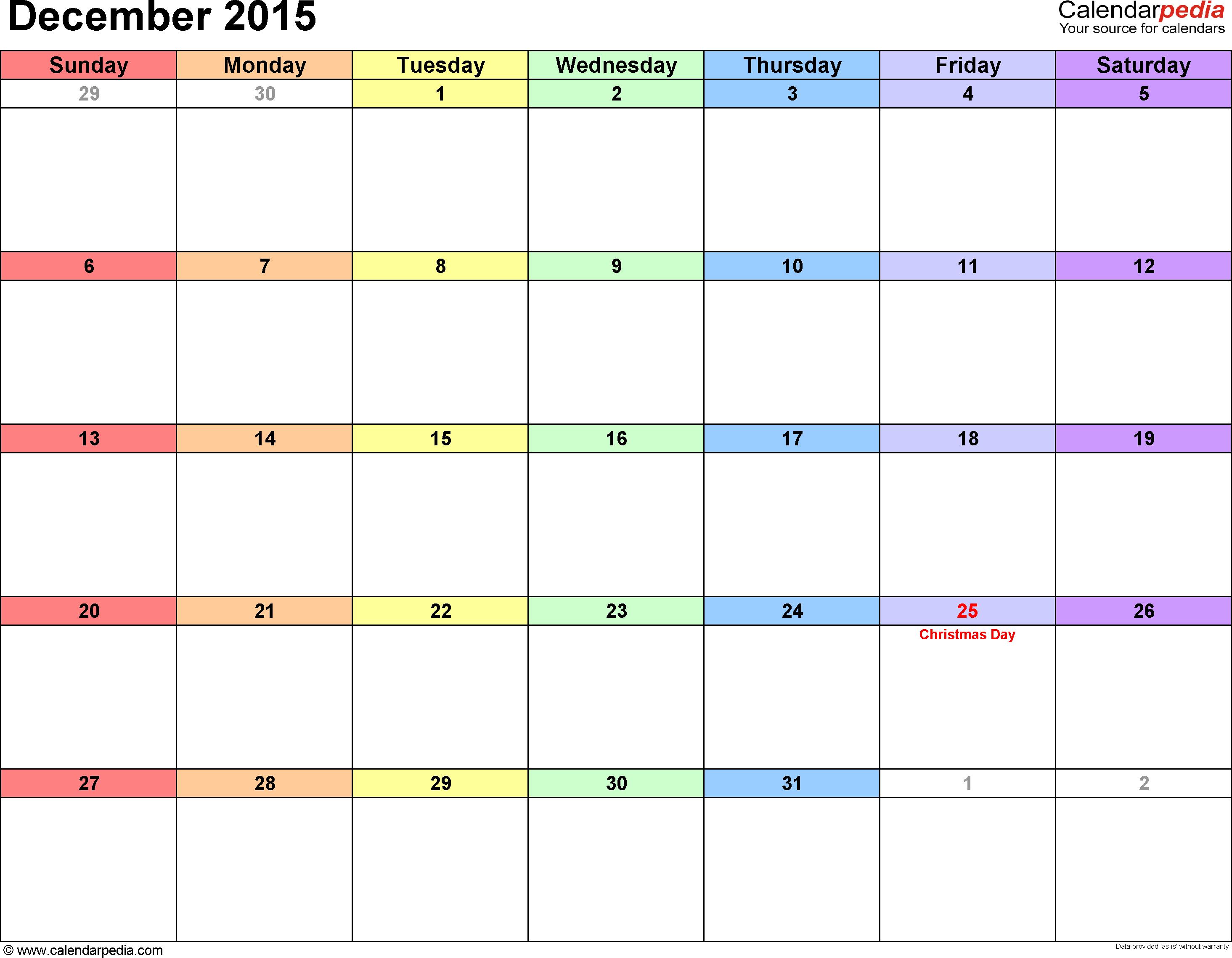 December 2015  Calendar Templates For Word, Excel And Pdf within December 2015 Calendar Printable