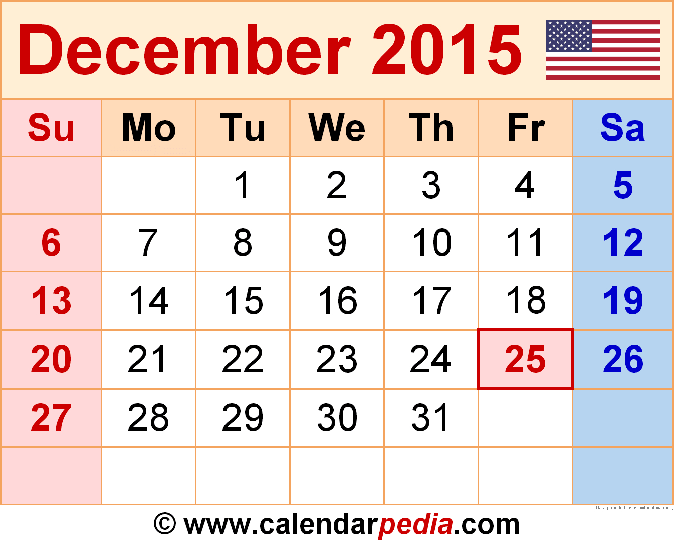 December 2015 Calendars For Word, Excel & Pdf | Free with December 2015 Calendar Printable