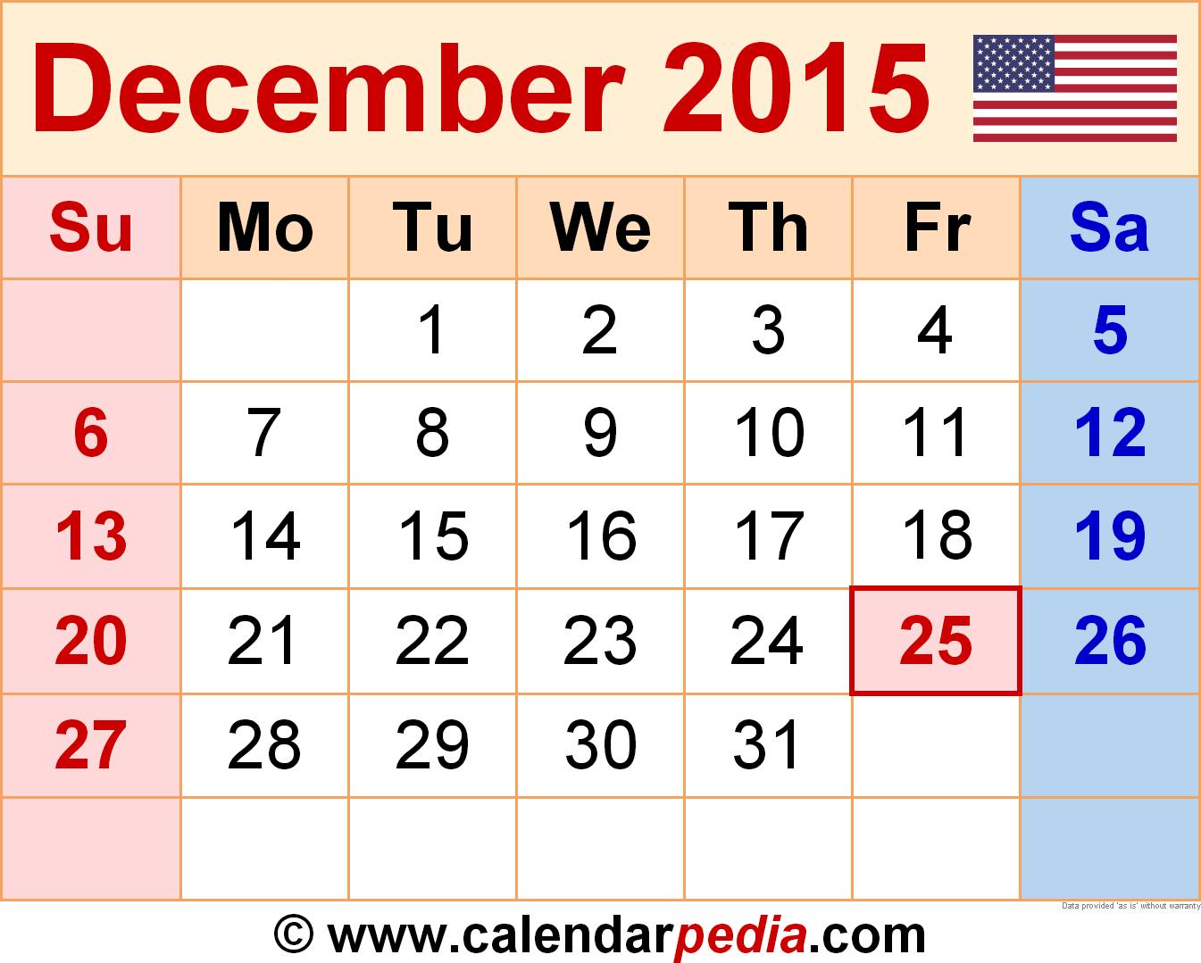 December 2015 Calendars For Word, Excel & Pdf | Free with December 2015 Calendar Printable