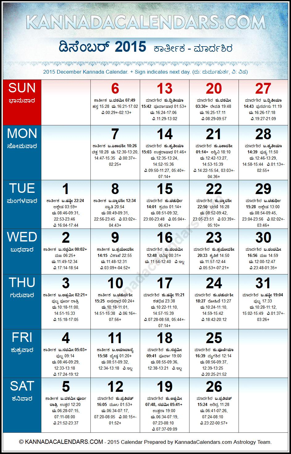 December 2015 Kannada Calendar | Manmatha Nama Samvatsaram regarding December 2015 Calendar Printable