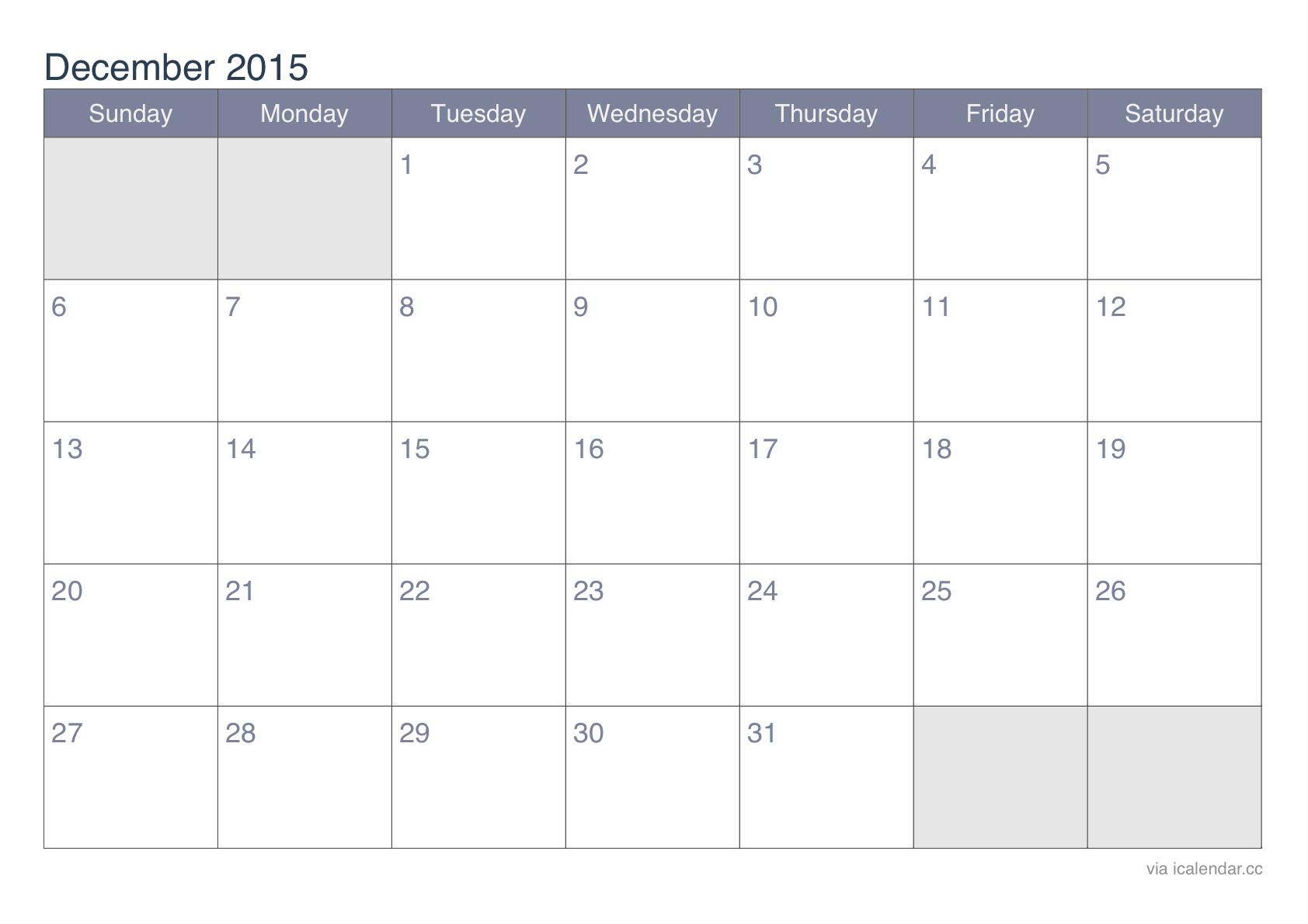 December 2015 Printable Calendar  Icalendars with December 2015 Calendar Printable