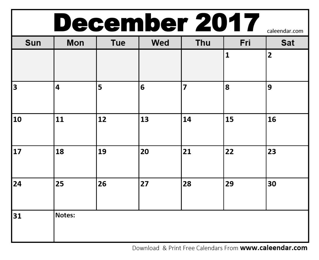 December 2017 Calendar, Blank December 2017 Calendar intended for December 2017 Calendar Printable