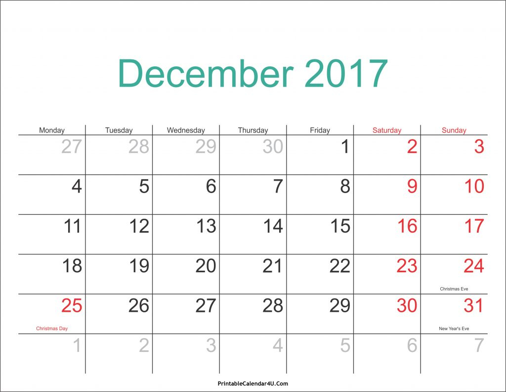 December 2017 Calendar Pdf – Calendar Yearly Printable within December 2017 Calendar Printable
