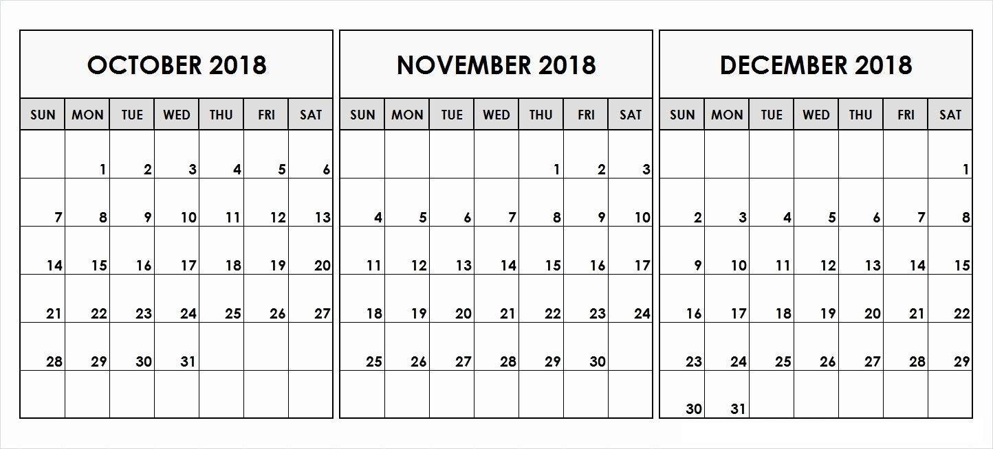 December 2018 Calendar Excel | September Calendar, November inside 3 Month Calendar Excel