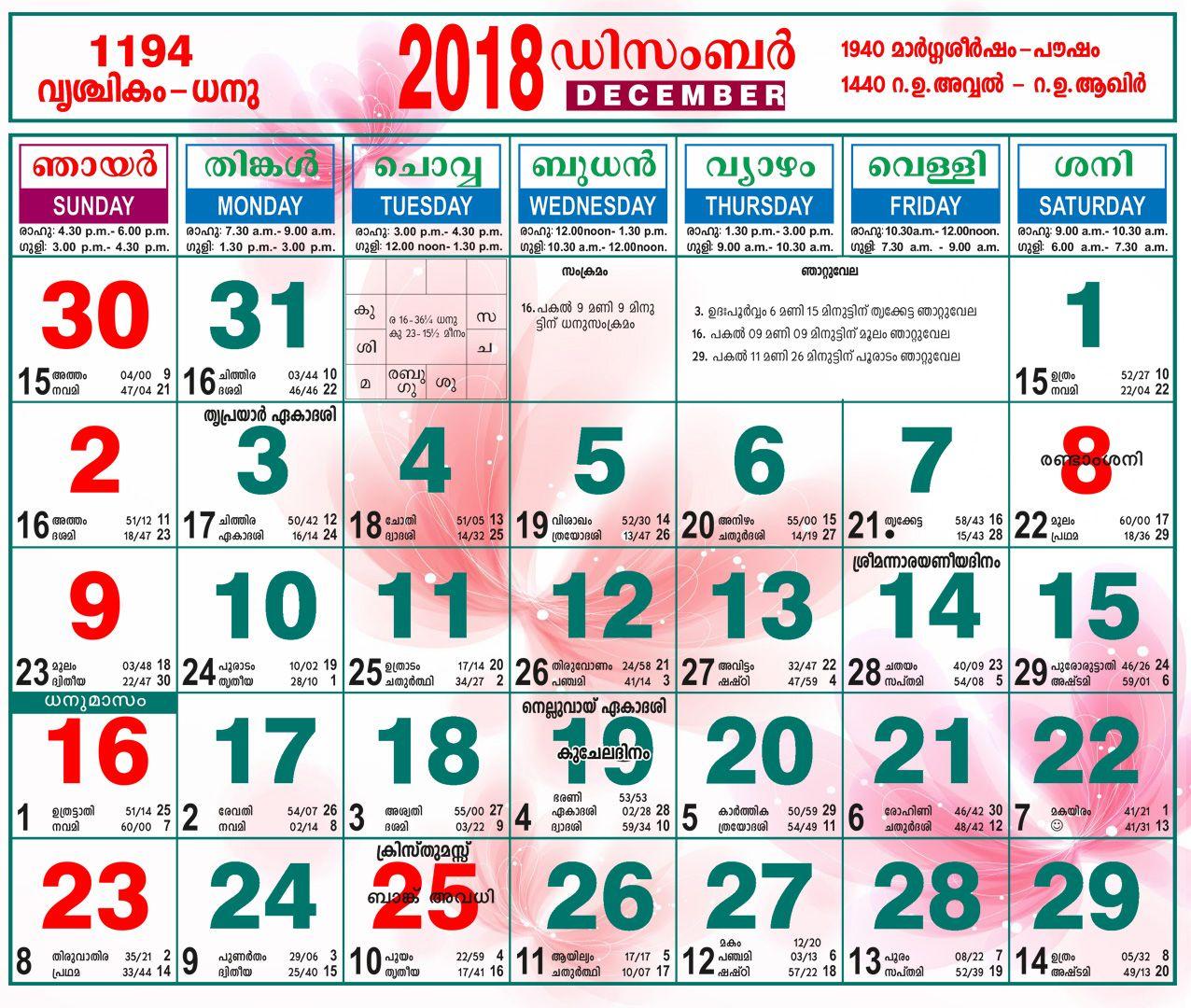 December 2018 Malayalam Calendar | Malayalam Calendar regarding October 2018 Calendar Malayalam