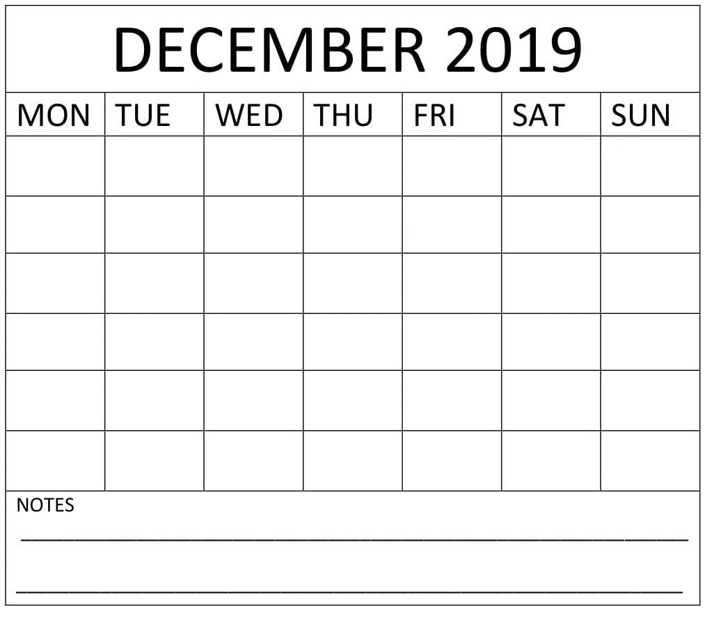 December 2019 Blank Calendar Printable Sheet  Latest with regard to Blank Calendar With Lines