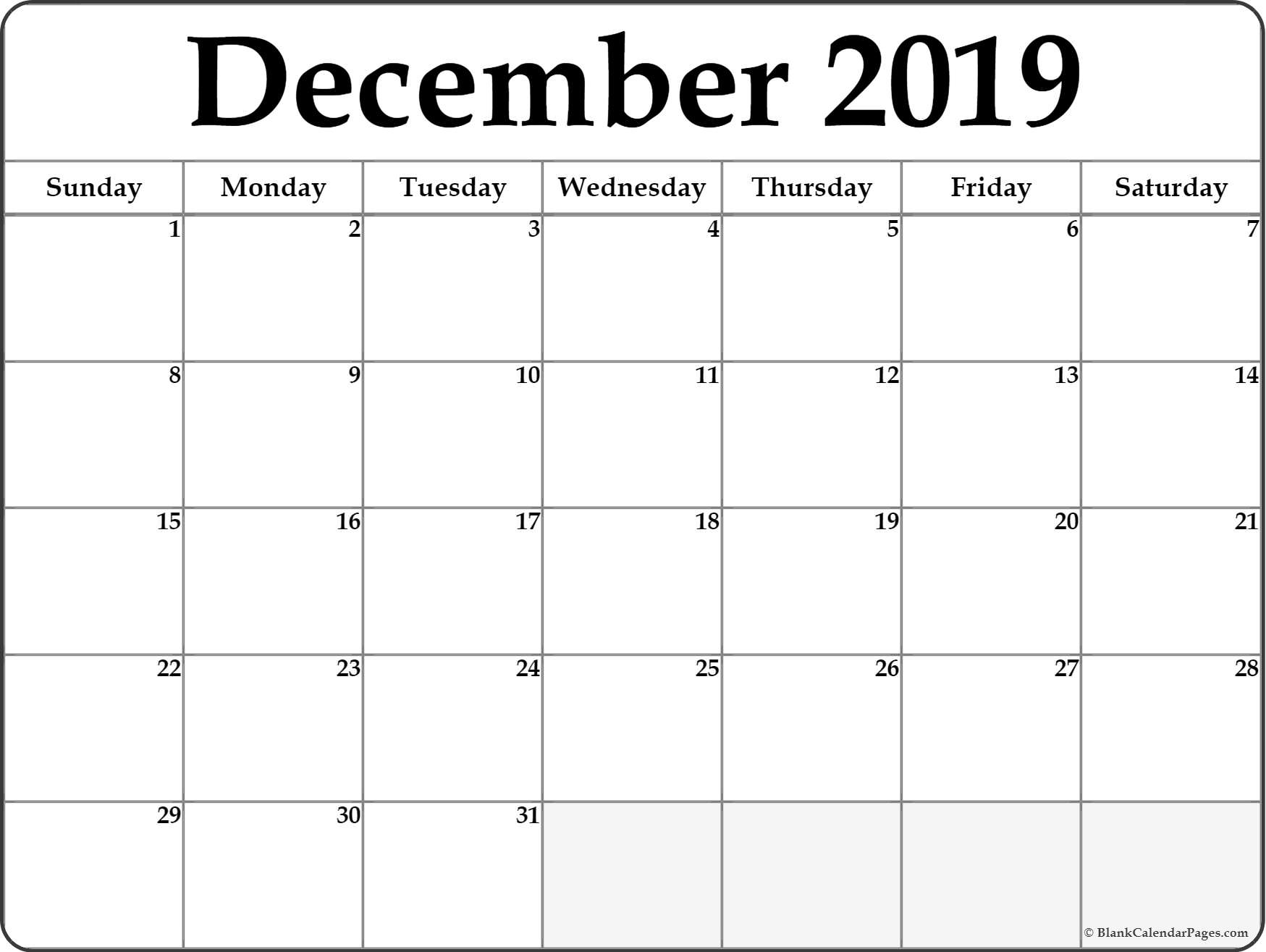 December 2019 Calendar | Free Printable Monthly Calendars inside Calendar With Blank Squares