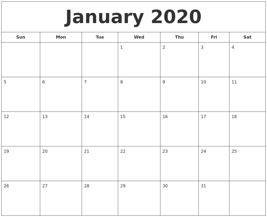 December 2019 Calendar January 2020 Calendar Printable with regard to January 2020 Calendar Blank