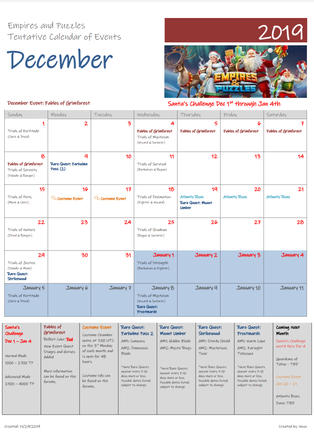 December 2019 Calendar Of Events : Empiresandpuzzles intended for Empires And Puzzles Quest Schedule