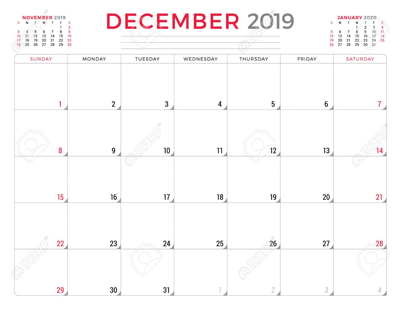 December 2019. Calendar Planner Stationery Design Template. Vector  Illustration. Week Starts On Sunday with Monday To Friday Planner