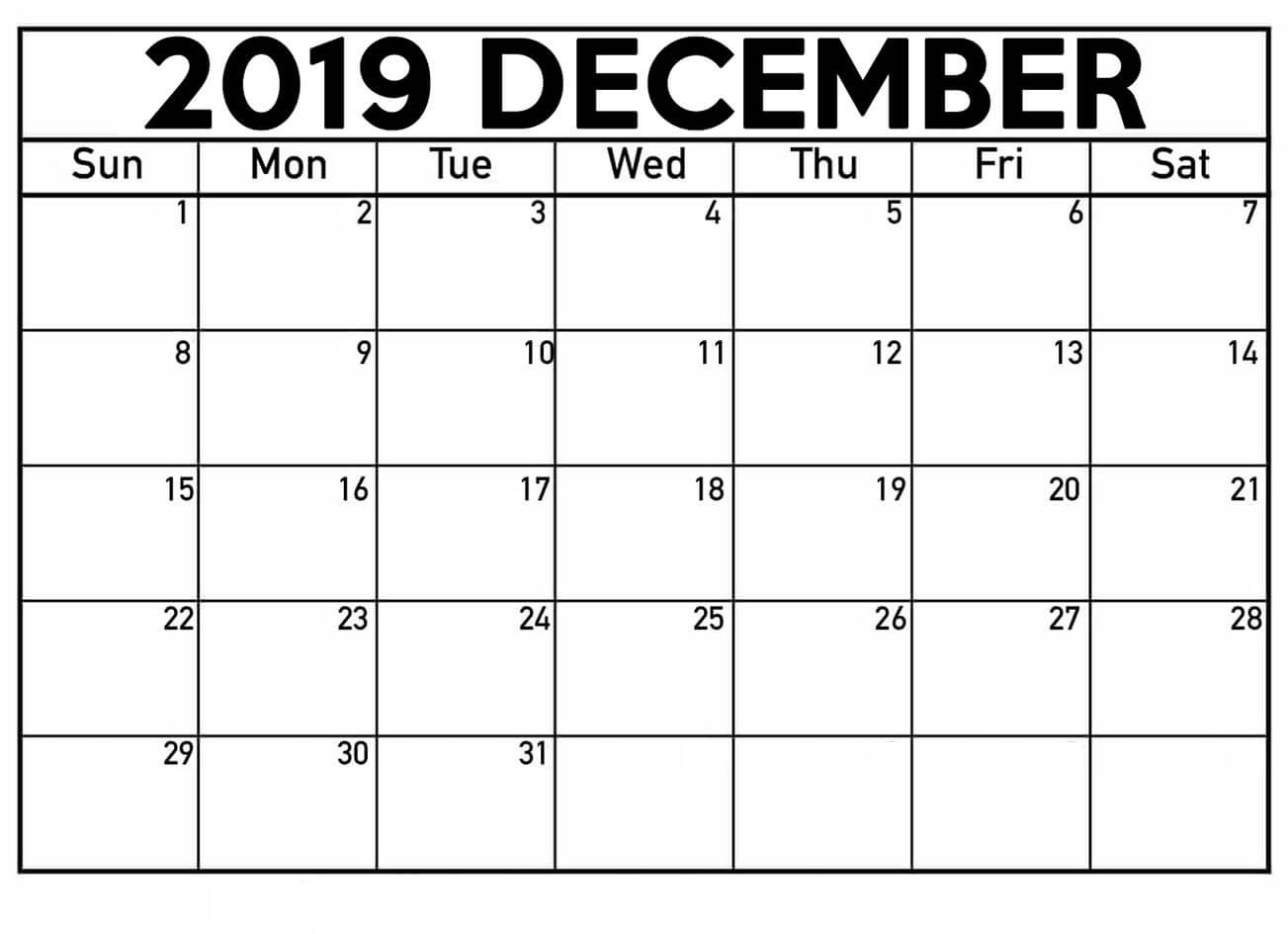 December 2019 Calendar Printable Waterproof Paper for January 2020 Waterproof Calendar