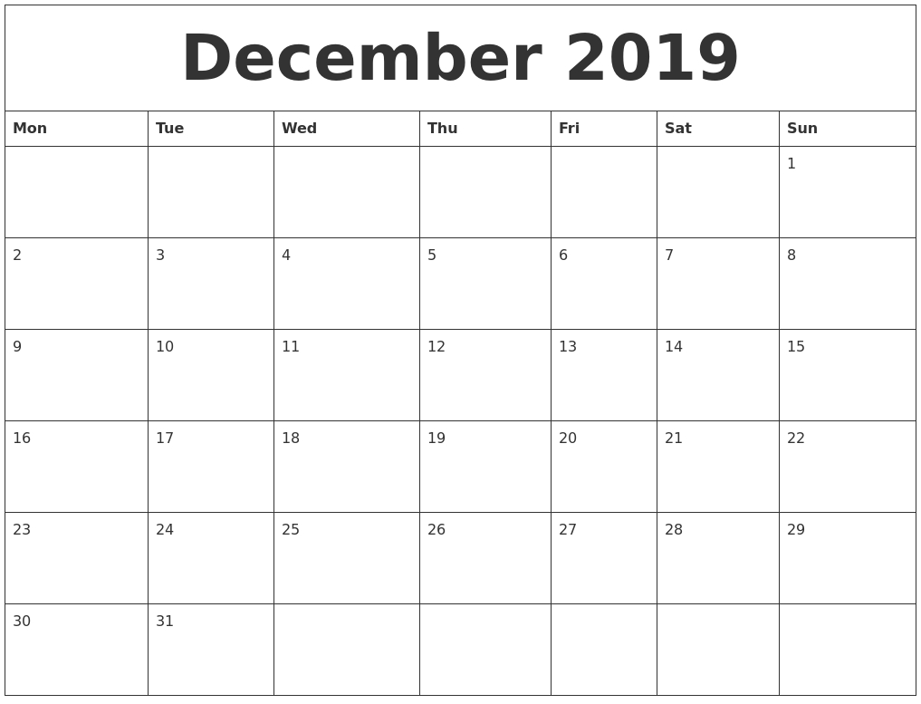 December 2019 Editable Calendar Template pertaining to Writable December 2020 Calendar
