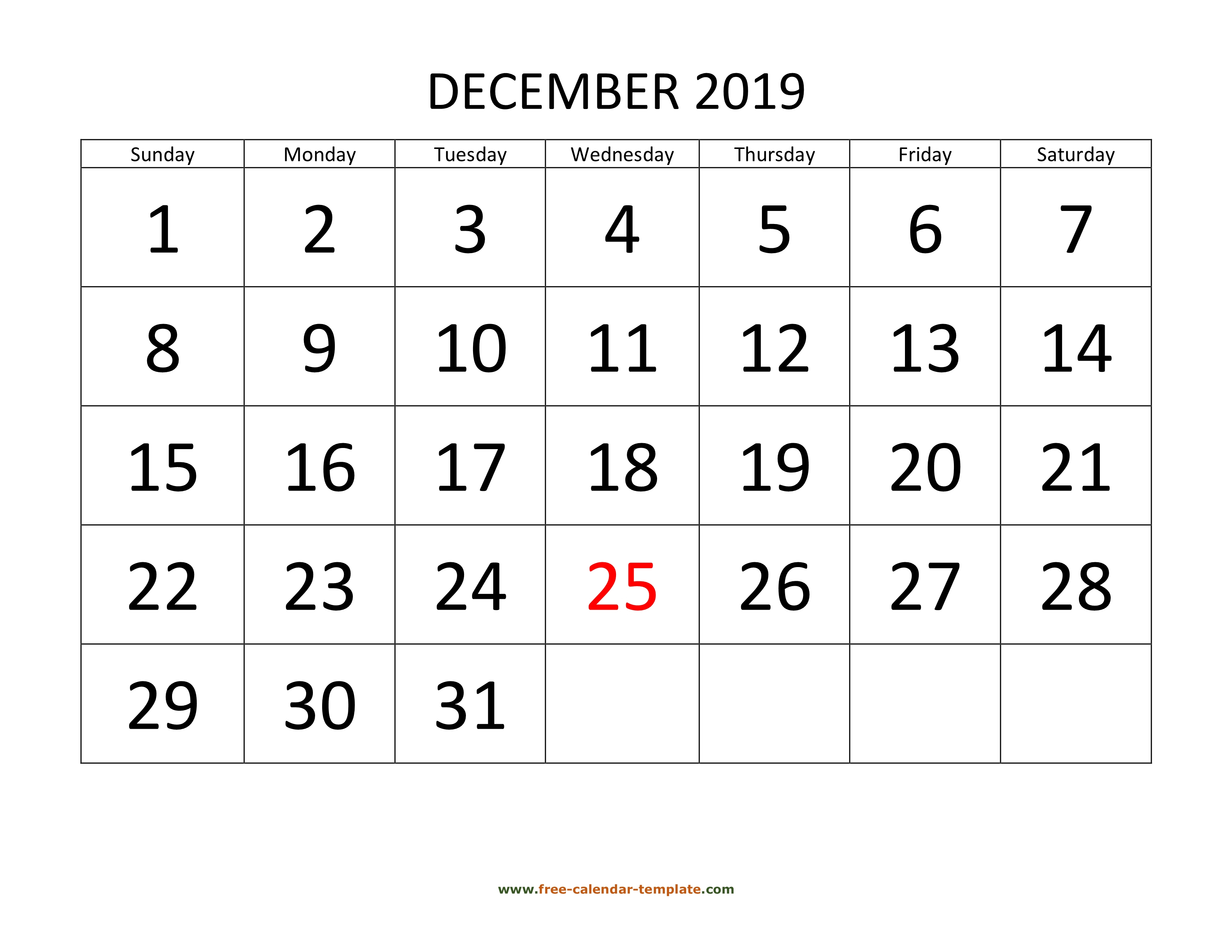 December 2019 Free Calendar Tempplate | Freecalendar in Calendar With Large Squares