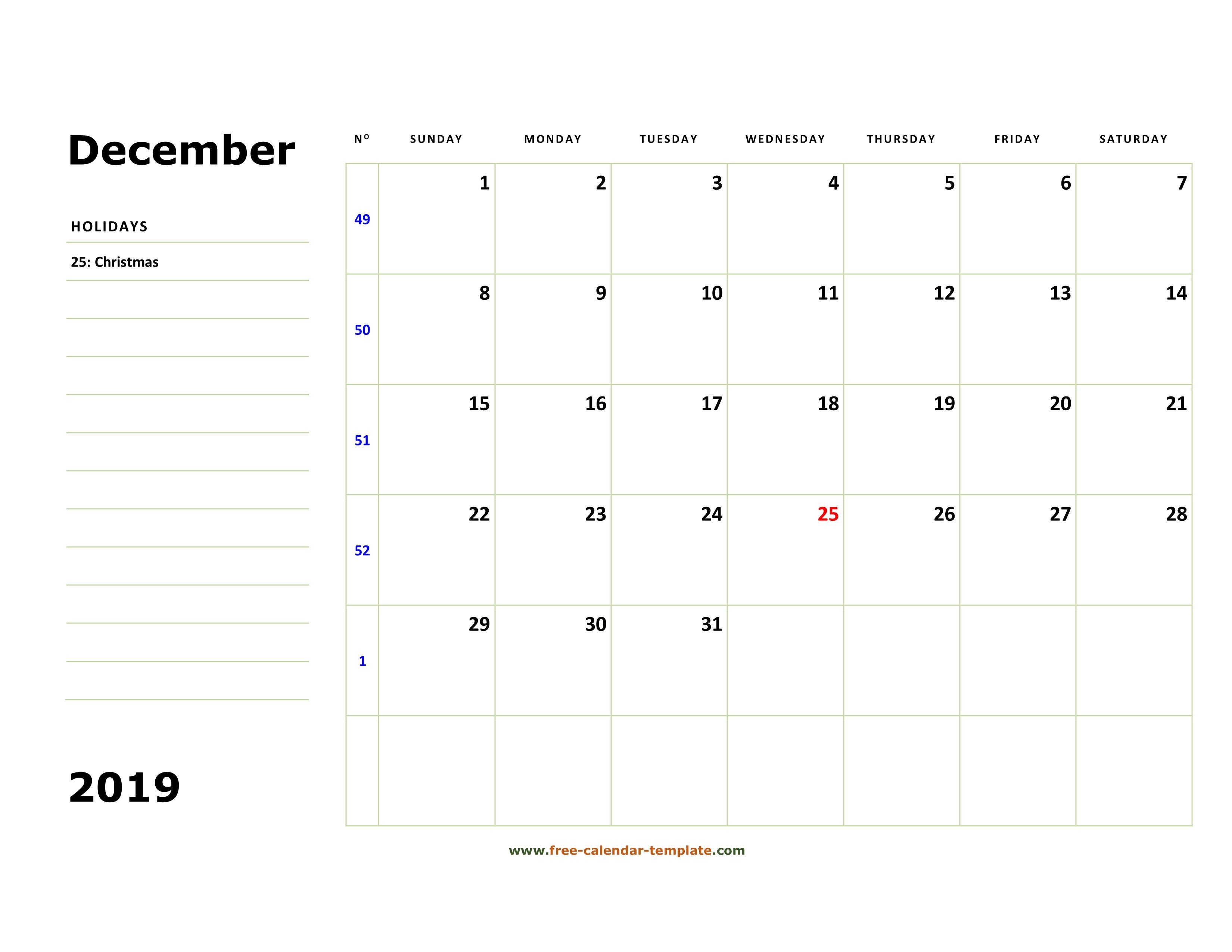 December 2019 Free Calendar Tempplate | Freecalendar regarding Calendar With Blank Squares