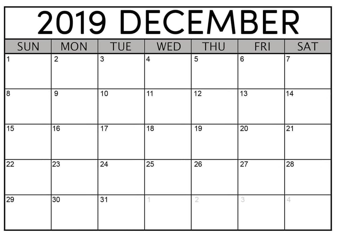 December 2019 Printable Calendar Free Download  Latest for Empty Printable Calendar
