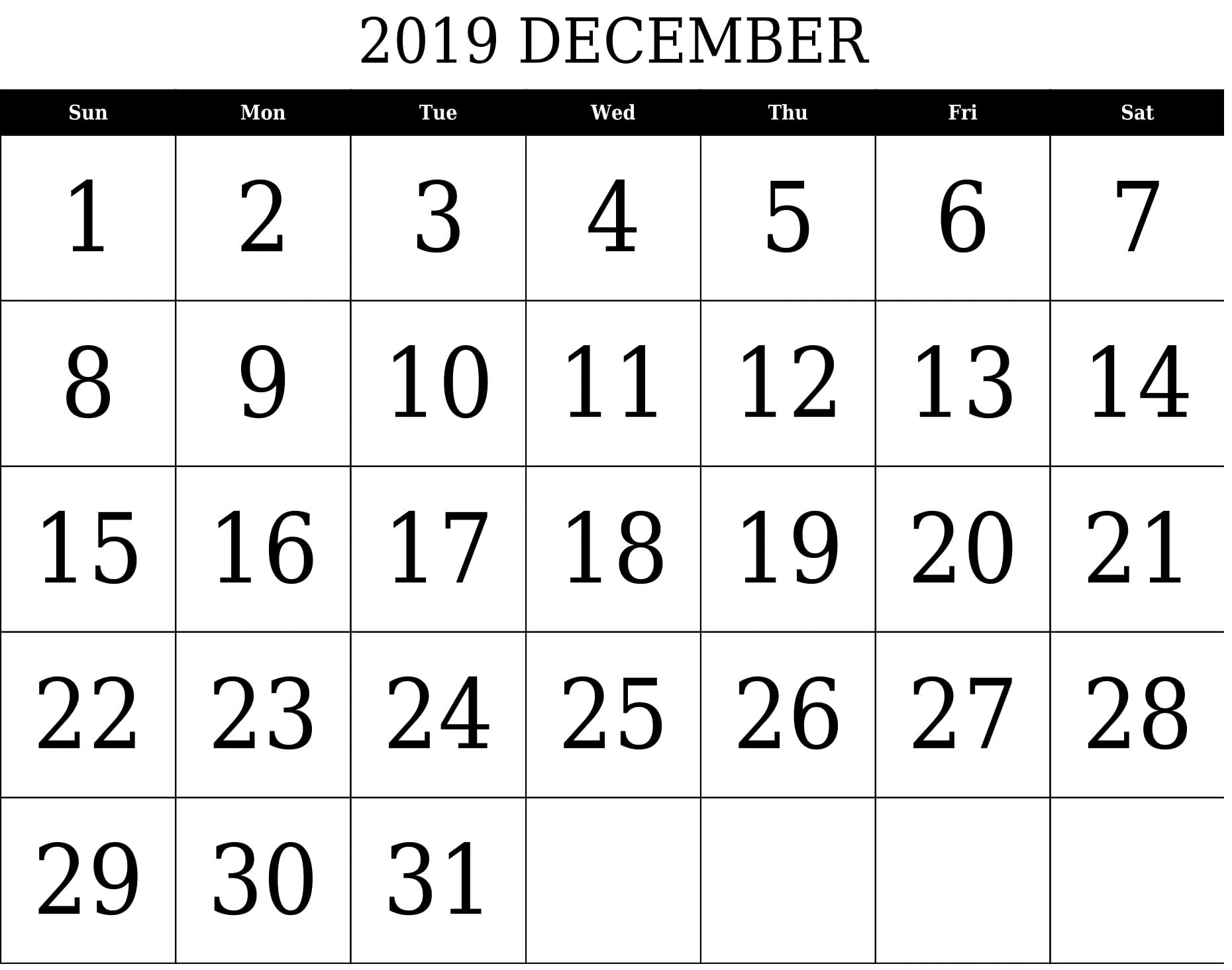 December 2019 Printable Calendar Free Download  Latest pertaining to Printable Pocket Calendar