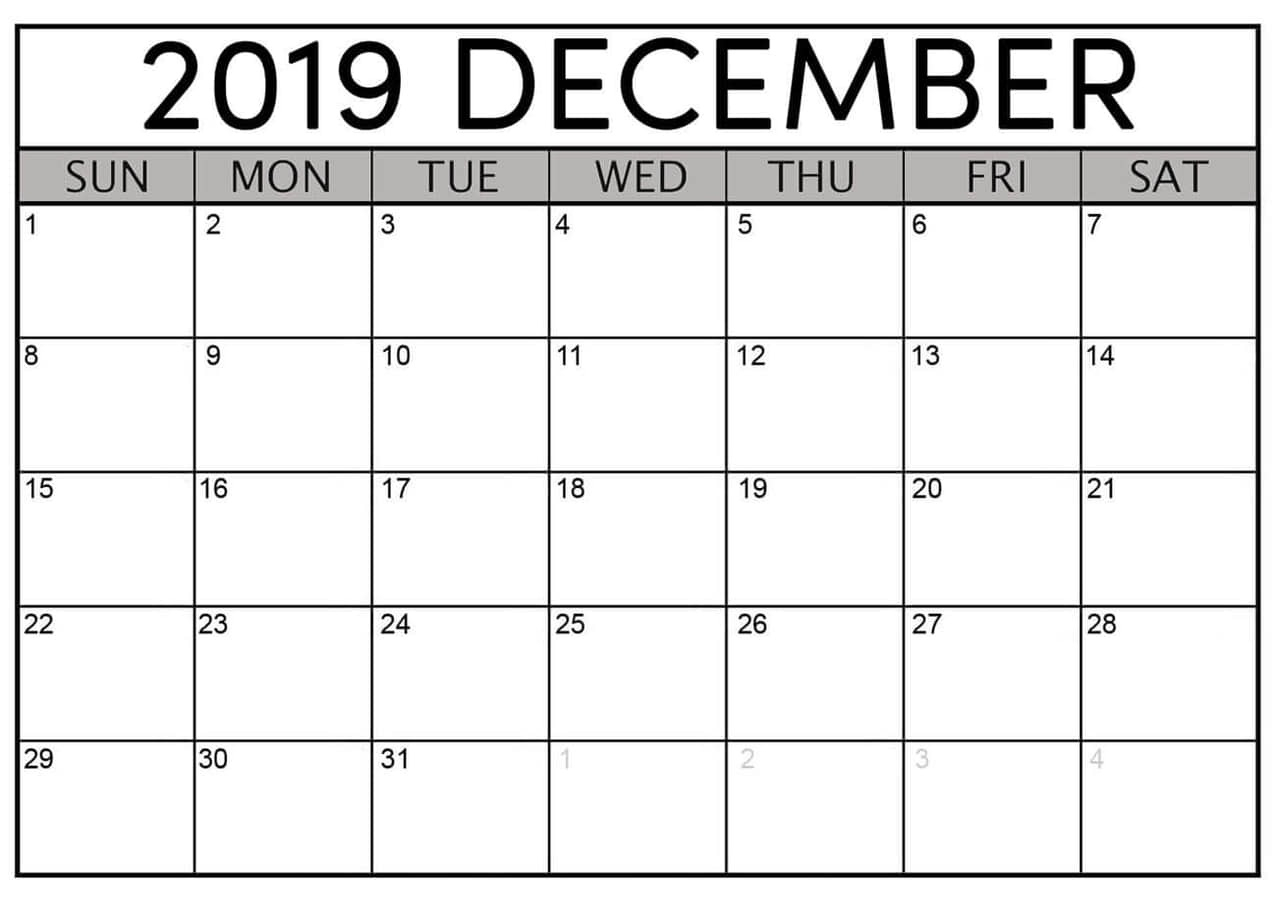 December 2019 Printable Calendar Free Download  Latest regarding Printable Pocket Calendar
