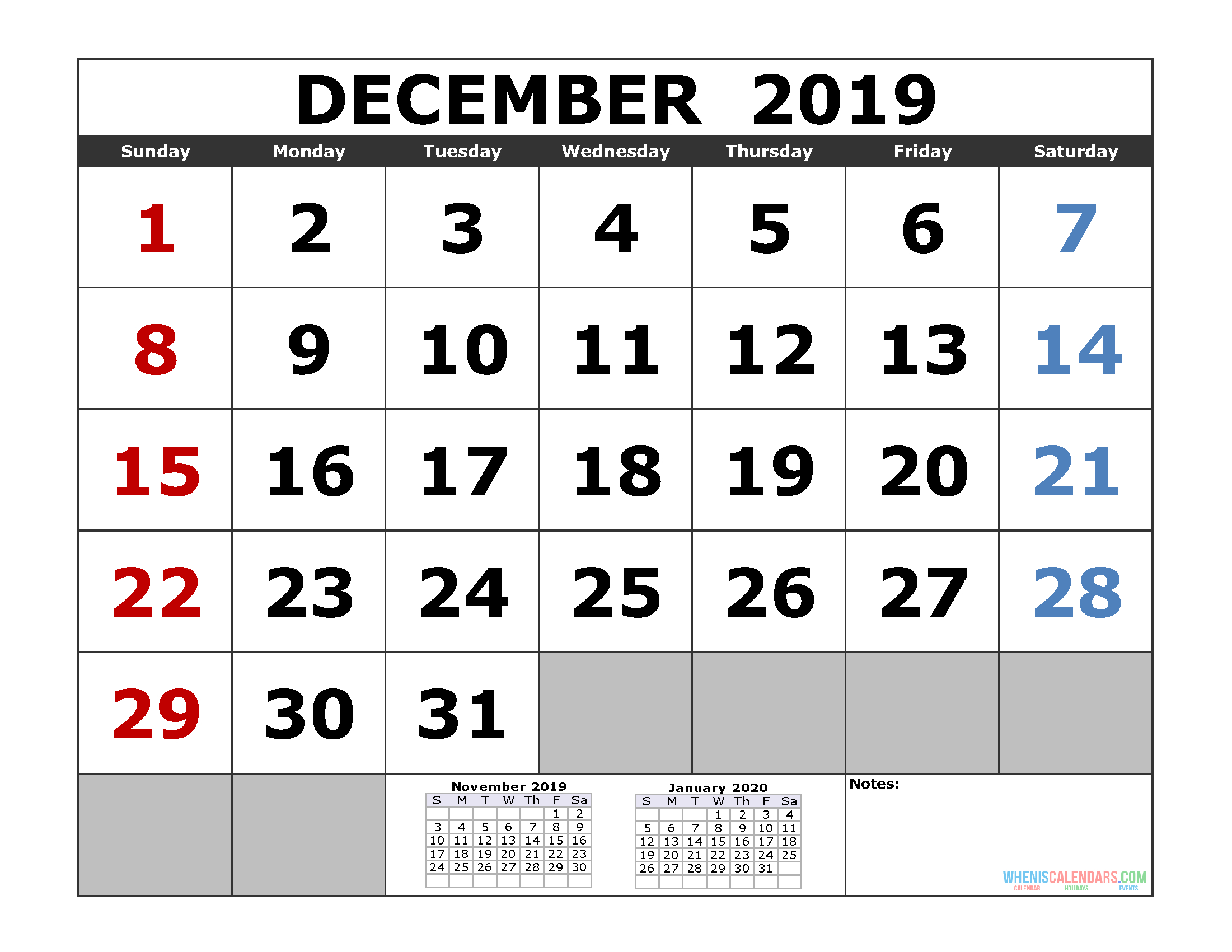 December 2019 Printable Calendar Template (3 Month Calendar with regard to Two Month Calendar November December 2020