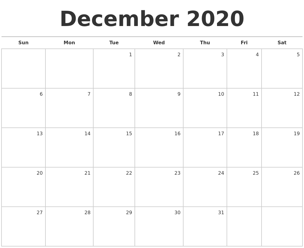 December 2020 Blank Monthly Calendar within 123 Calendars December 2020